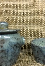 Ceramic Blue Jar and glass (handmade)