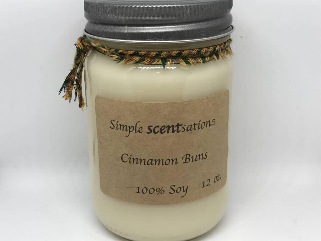 Simple Scentsation Warm Cinnamon Buns 12 oz. Soy Candle