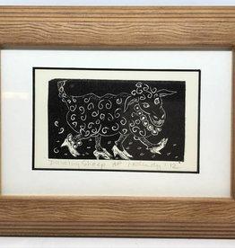 Maggi Rhudy Maggi Wood Engraving Prints Dancing Sheep Small