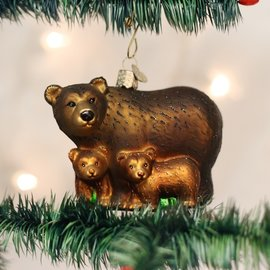 Old World Christmas BEAR WITH CUBS ORNAMENT
