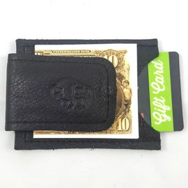 TLS Wallets Buffalo Leather Money Clip/Card Case - Black