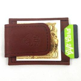 TLS Wallets Buffalo Leather Money Clip/Card Case - Mahogany