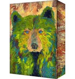 """Fern Bear Shelle Lindholm 18""""X26"""" X 3"""" metal box art"""