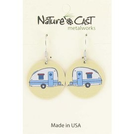 1124e25a3 ROUND VINTAGE CAMPER. $19.00. Nature Cast hummingbird disc earrings