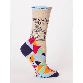 Blue Q crew sock - you crafty bitch