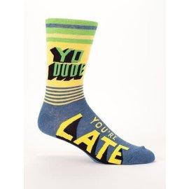 Blue Q Crew Sock - Yo Dude, You're Late