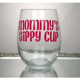 Perfectly Imperfect Wine Glass Mommy's sippy cup Pink