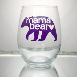 Perfectly Imperfect Wine Glass Mama bear Purple