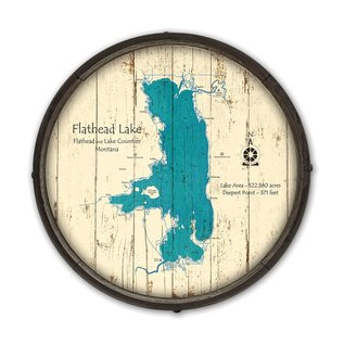 "Metal Box Art BARREL END FLATHEAD LAKE 23"" wood"