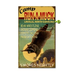 Metal Box Art CAMP RUN A MUCK 18X30 METAL