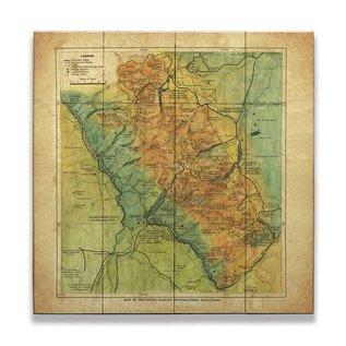 Metal Box Art VINTAGE GNP MAP WOOD 23X31 LISA MIDDLETON