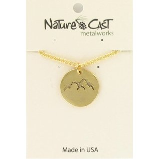 "Nature Cast pendant cutout gold mountains peaks 18"" chain gold"