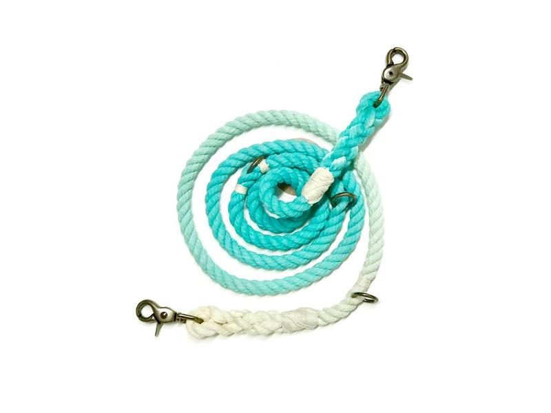 Green Trout Adjustable Rope Lead Teal Ombre