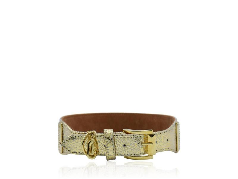"""Collarist Woven & Gold Leather Collar """"Get Happy"""""""