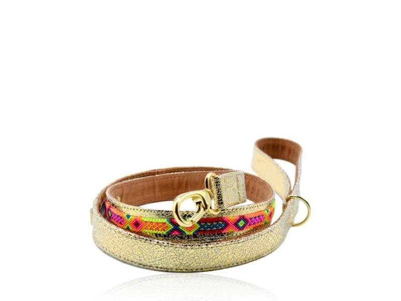 Collarist Woven & Gold Leather Lead