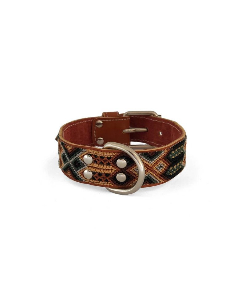 Nice Beast Friendship Leather Woven Collar, Sandstone