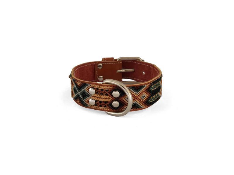 Nice Beast Friendship Leather Woven Collar, Sandstone