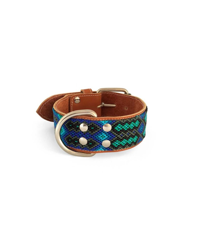 Nice Beast Friendship Leather Woven Collar, Blue Moon