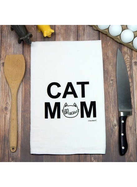 Green Bee KC Tea Towel, Cat Mom