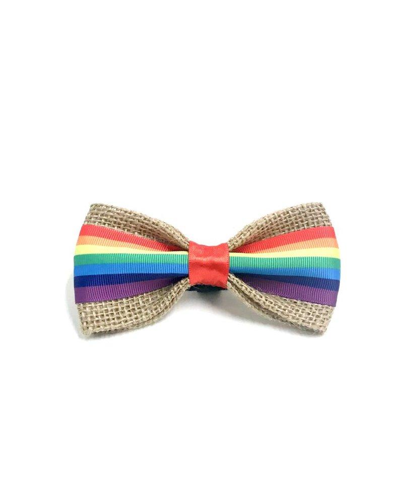 FEED Burlap Bow Tie, Rainbow