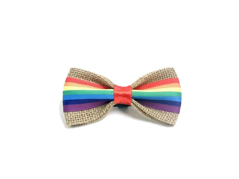 Burlap Bow Tie, Rainbow