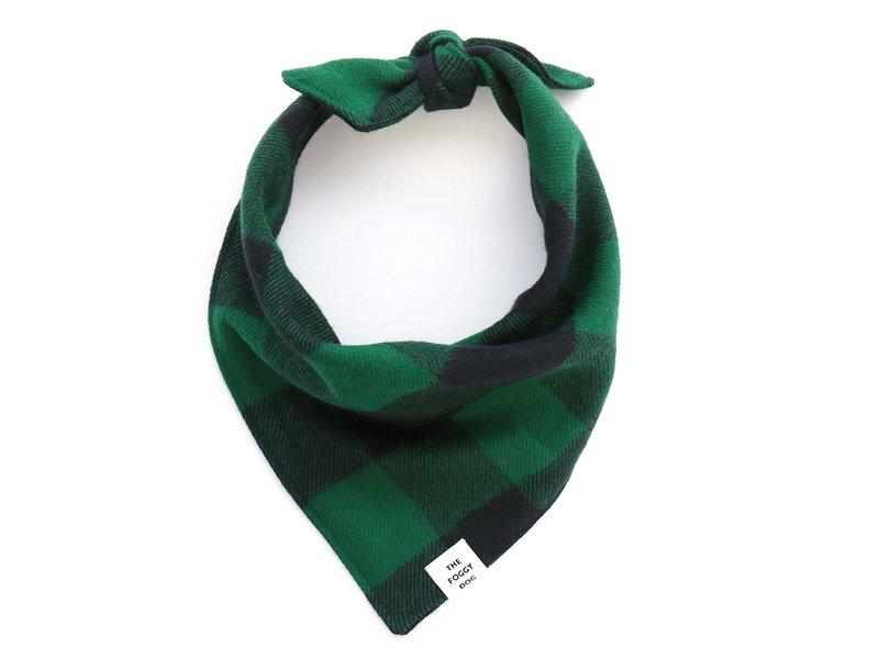 The Foggy Dog Green & Black Plaid Flannel Dog Bandana