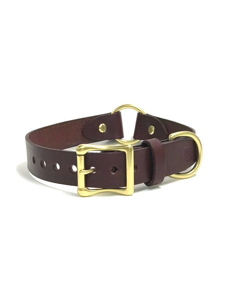 Bay Dog Co Leather Collar, Burgundy