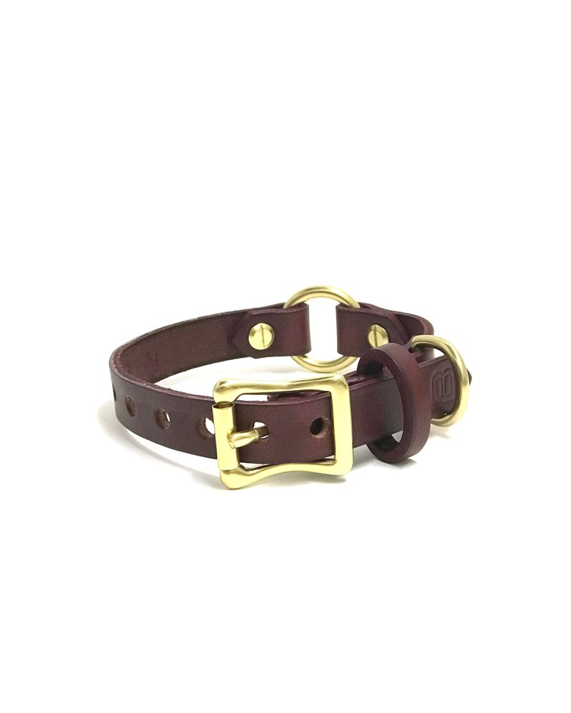 Bay Dog Co Leather Collar, Burgundy