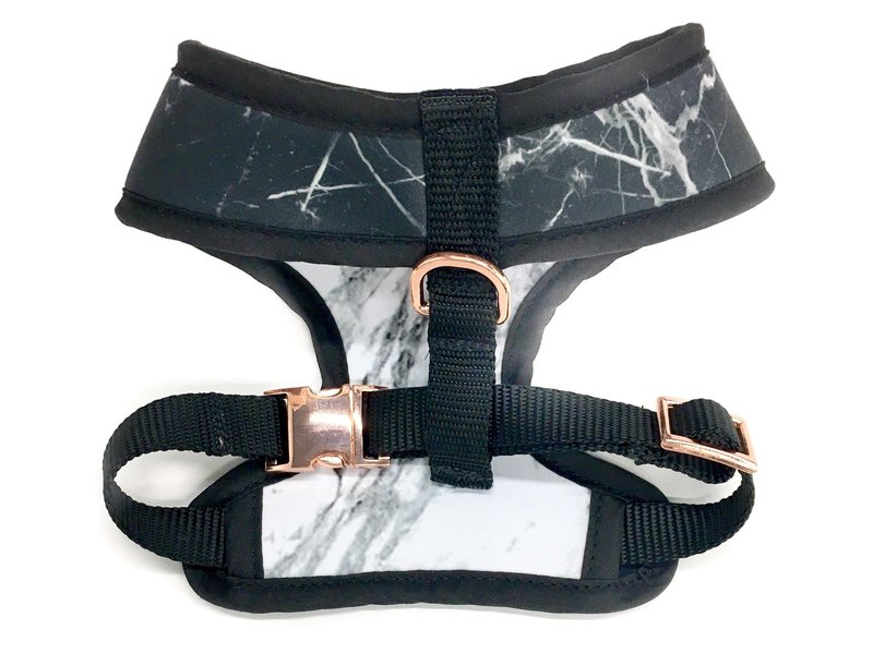 Pawsitivity Reversible Harness, Black & White Marble