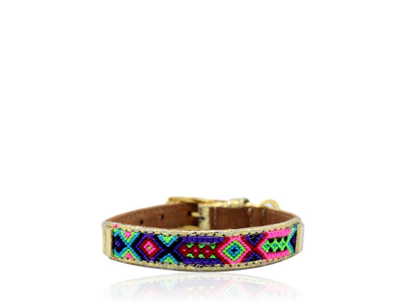 """Collarist Woven & Gold Leather Collar """"Naughty Soul"""""""