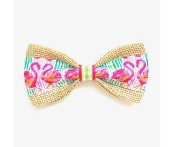 Burlap Bow Tie, Flamingo