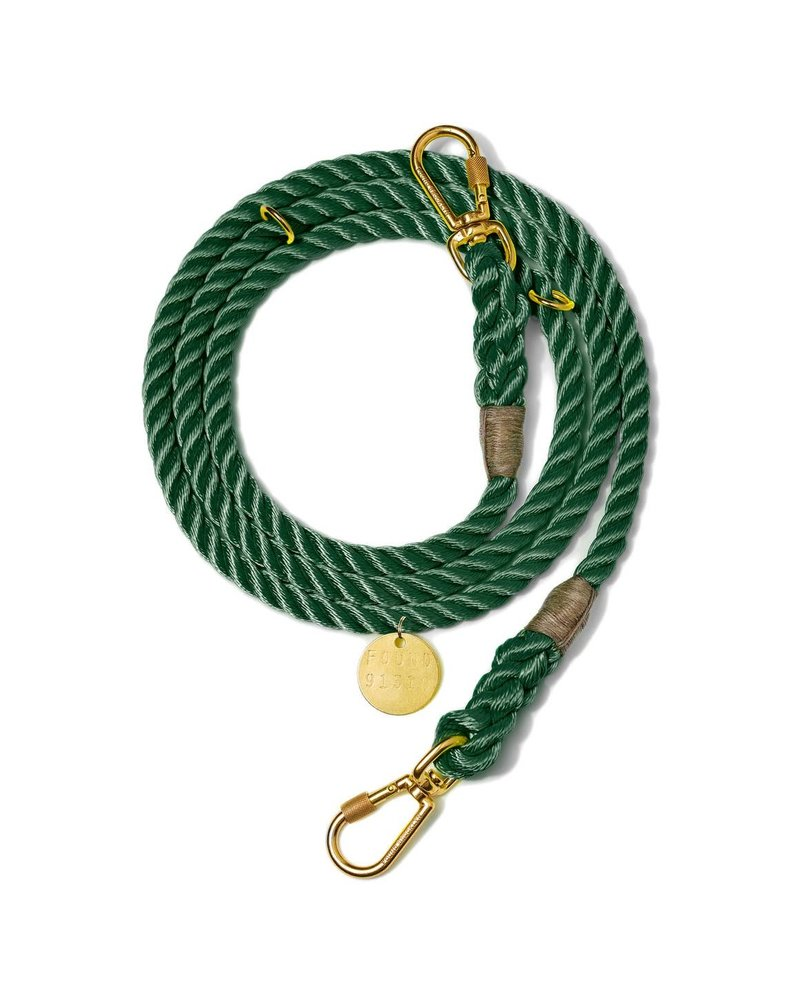 Found My Animal Hunter Green Rope Dog Leash, Adjustable
