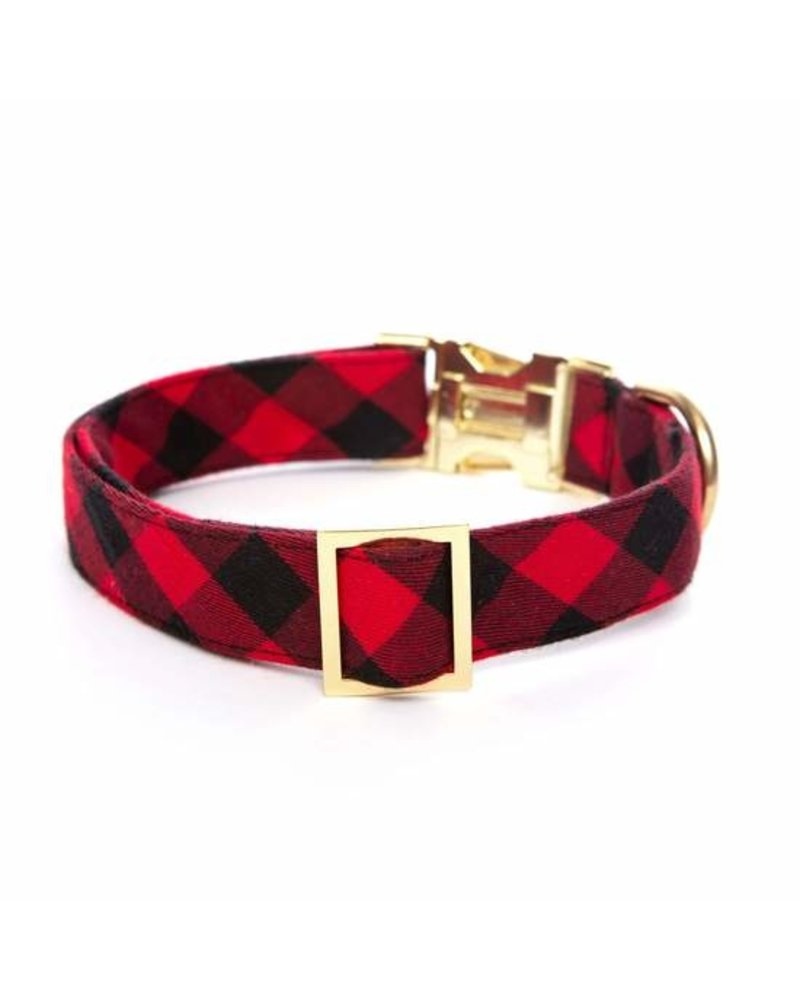 The Foggy Dog Buffalo Check Collar, Red and Black