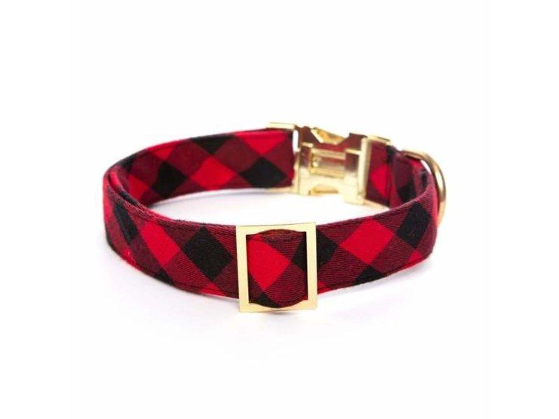 The Foggy Dog Buffalo Check Collar, Red and Black