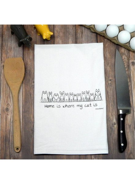 Green Bee KC Tea Towel, Home Is Where My Cat Is
