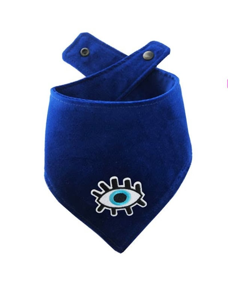 Woof + Wonder Co. Evil Eye Blue Velvet Bandana