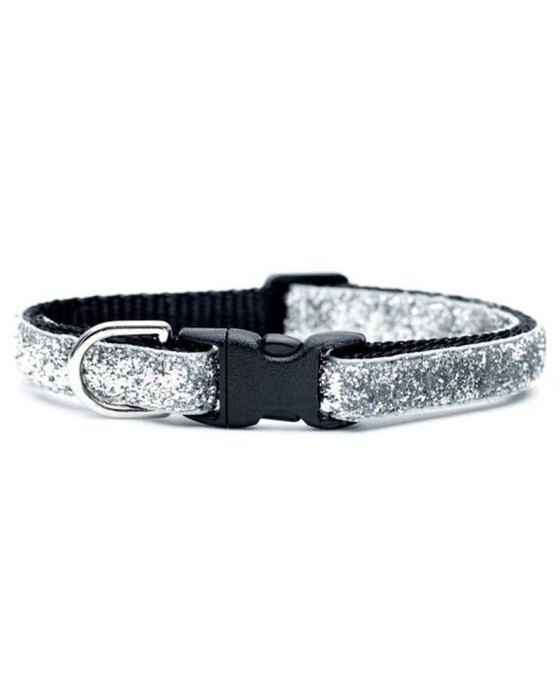 Sweet Pickles Designs Silver Glitter Cat Collar