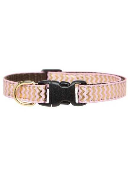 Sweet Pickles Designs Pink & Gold Stripe Cat Collar