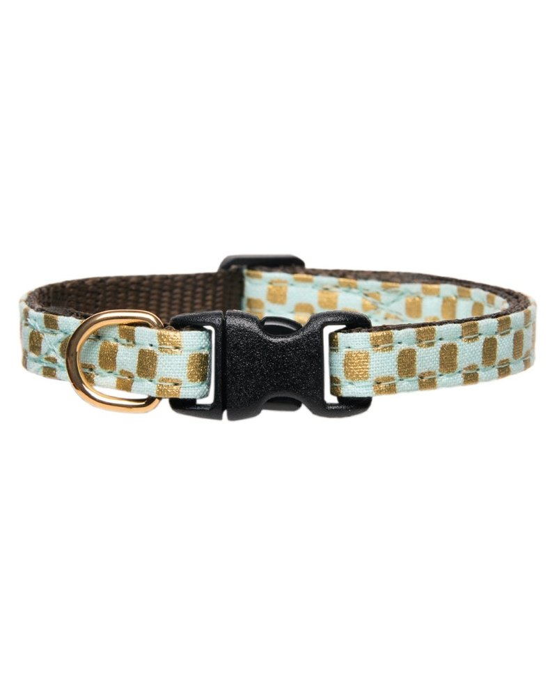Sweet Pickles Designs Bow Tie Cat Collar, Gold Squares