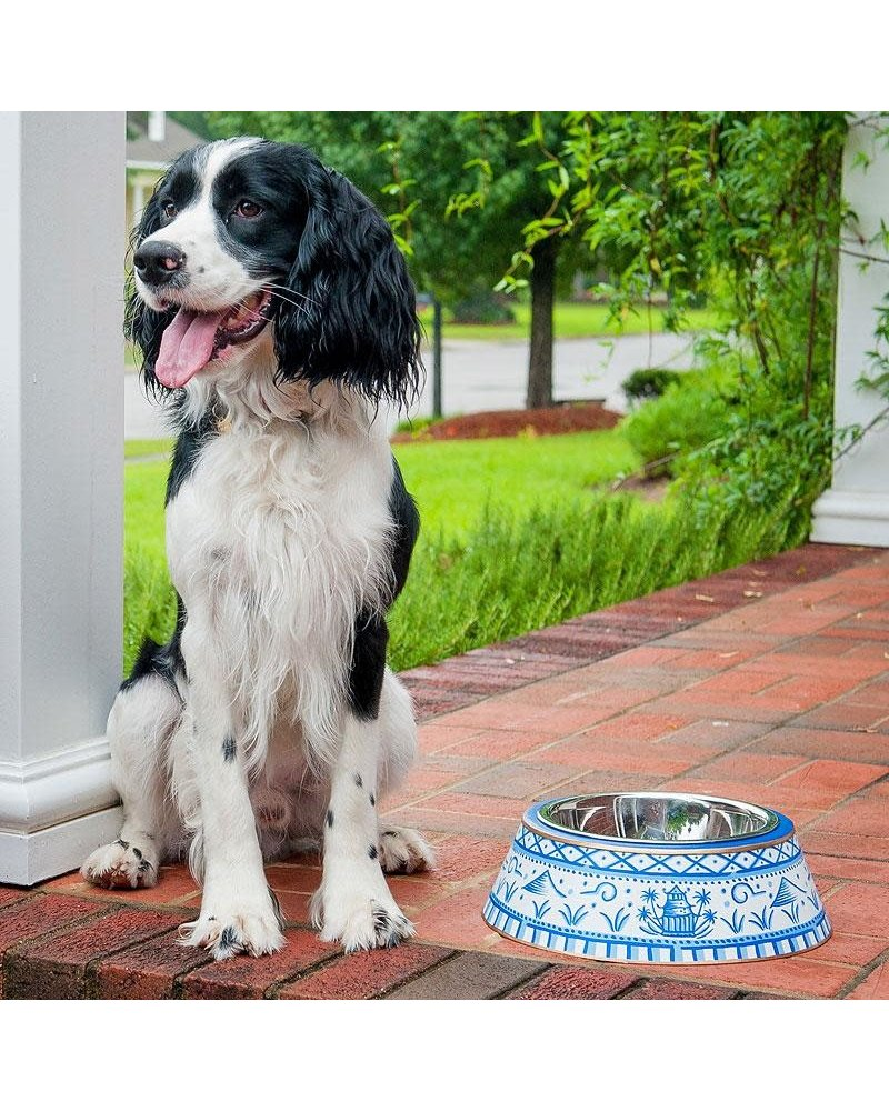 Pagoda Pet Bowl, Blue