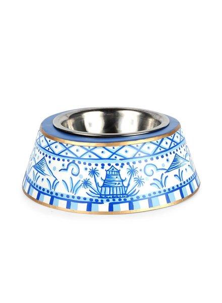 Jaye's Studio Pagoda Pet Bowl, Blue