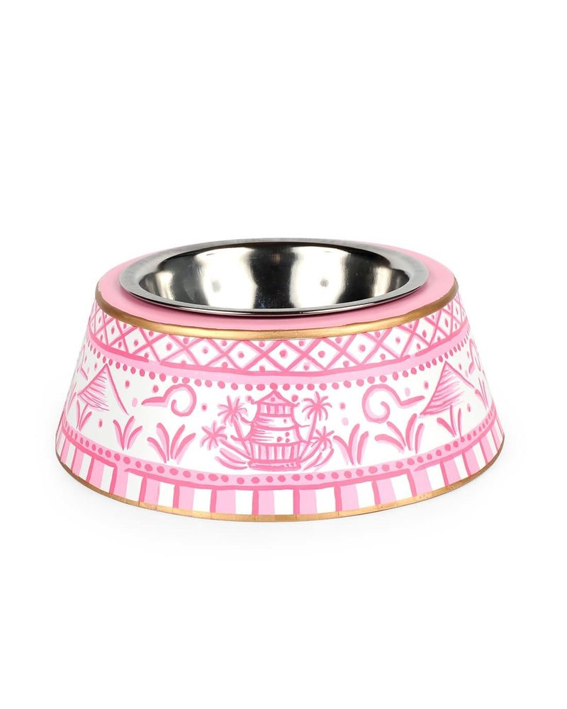 Jaye's Studio Pagoda Pet Bowl, Pink
