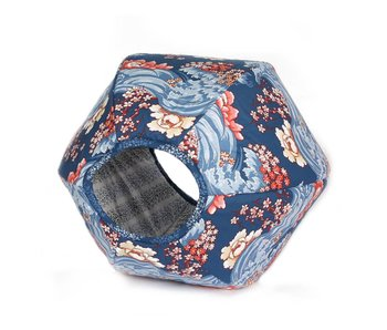The Cat Ball Ball Bed, Nouveau Floral Navy