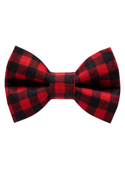 "Sweet Pickles Designs Bow-Tie, ""Ski School"" Red Buffalo Plaid"