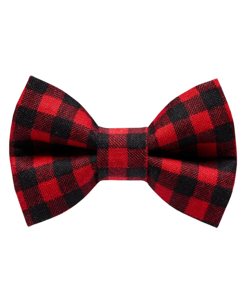 "Sweet Pickles Designs Bow-Tie, ""Ski School"" Red Buffalo Plaid"
