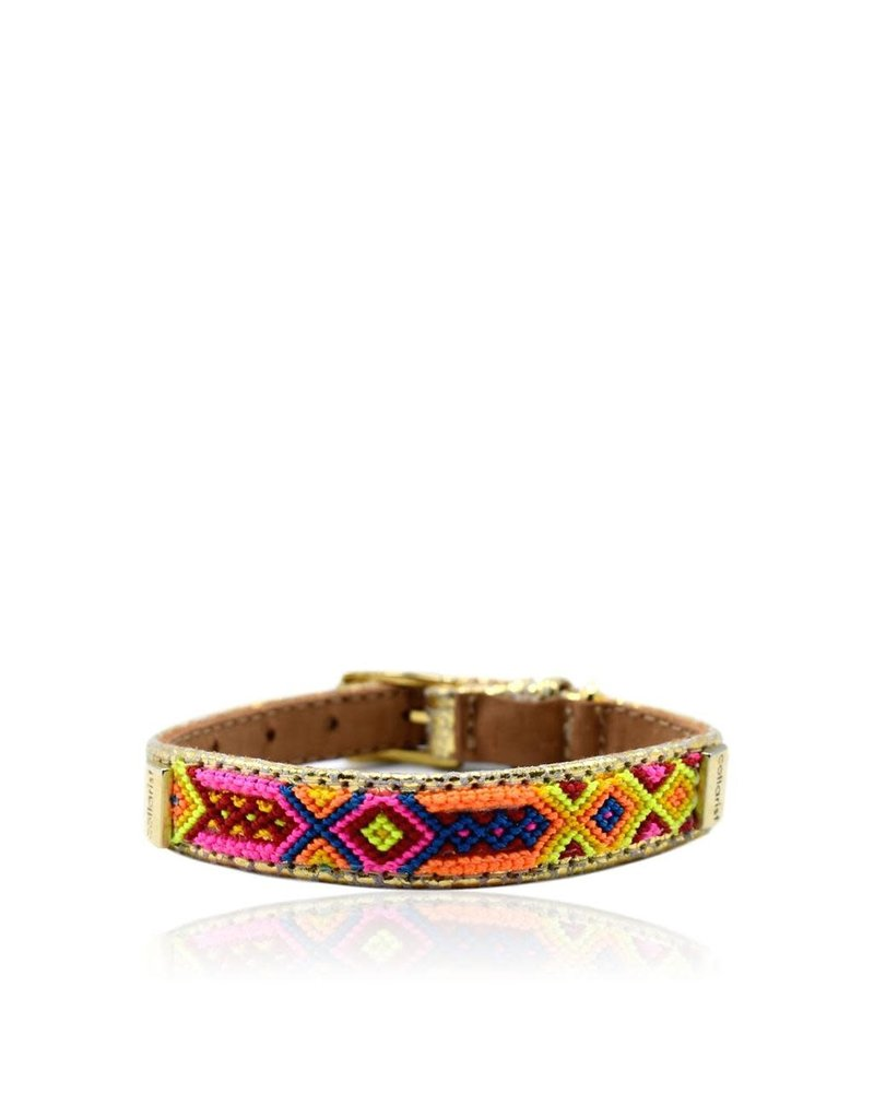 """Collarist Woven & Gold Leather Friendship Collar """"Get Happy"""""""