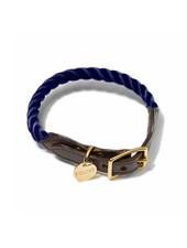 Found My Animal Rope & Leather Collar, Navy