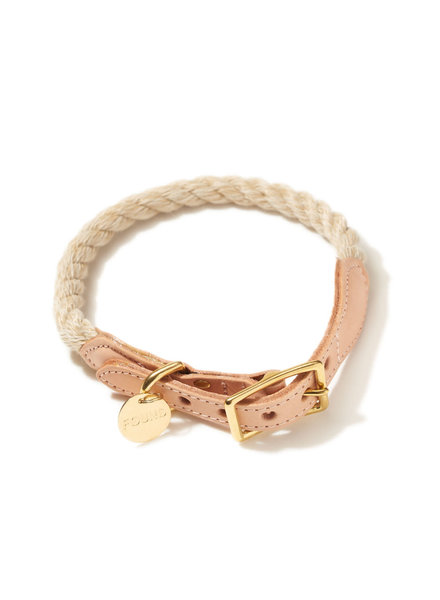 Found My Animal Rope & Leather Collar, Light Tan