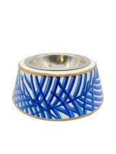 Palm Leaf Pet Bowl, Blue