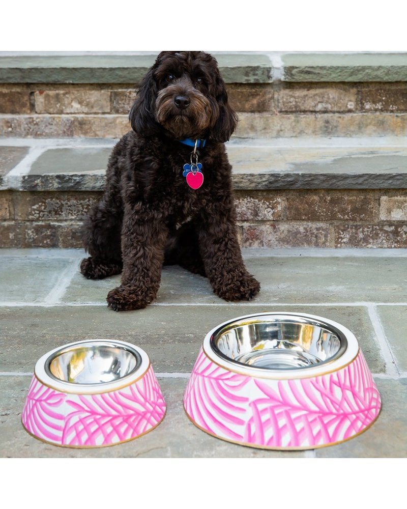 Jaye's Studio Palm Pet Bowl, Pink